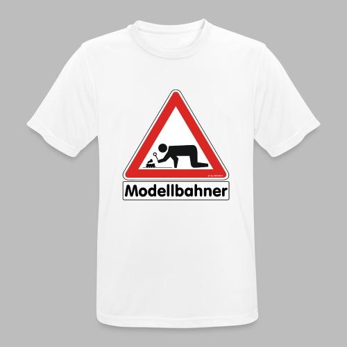 Warnschild Modellbahner Dampflok - Männer T-Shirt atmungsaktiv