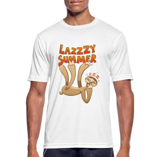 Sleepy sloth yawning and enjoying a lazy summer - Men's Breathable T-Shirt
