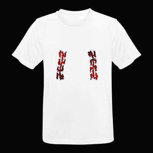 zeez rouge ombre noir abimé - T-shirt respirant Homme