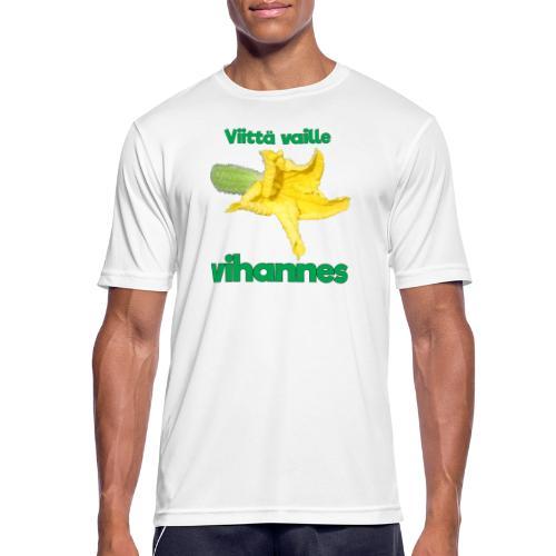 Viittä vaille vihannes, avomaankurkku - miesten tekninen t-paita