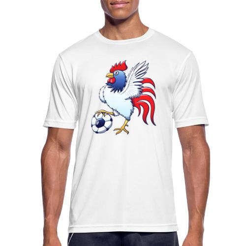 Rooster Posing and Stepping on a Foot Ball - Men's Breathable T-Shirt