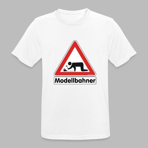 Warnschild Modellbahner E Lok - Männer T-Shirt atmungsaktiv