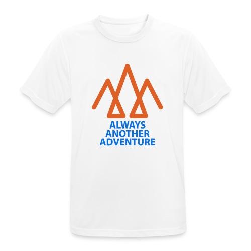 Orange logo, blue text - Men's Breathable T-Shirt