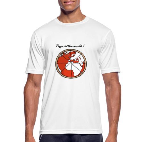 Mondo a forma di pizza - Maglietta da uomo traspirante
