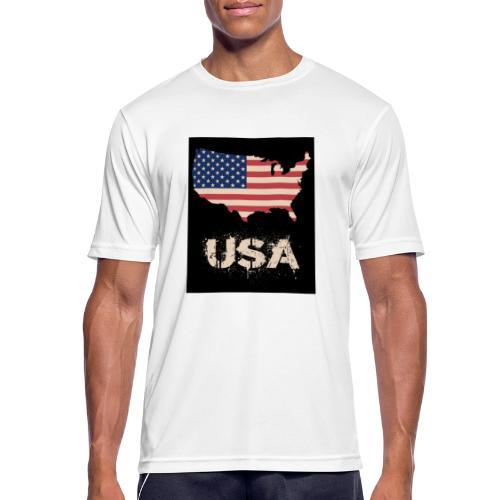 USA FLAG 4th of July With Flag - Andningsaktiv T-shirt herr