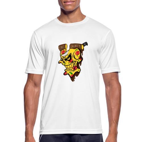 Pizza Schädel mit Messer - Männer T-Shirt atmungsaktiv