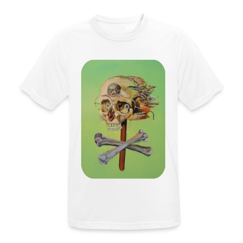oil painting of skull and bones - mannen T-shirt ademend