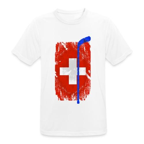 Schweizer Flagge Hockey - Männer T-Shirt atmungsaktiv