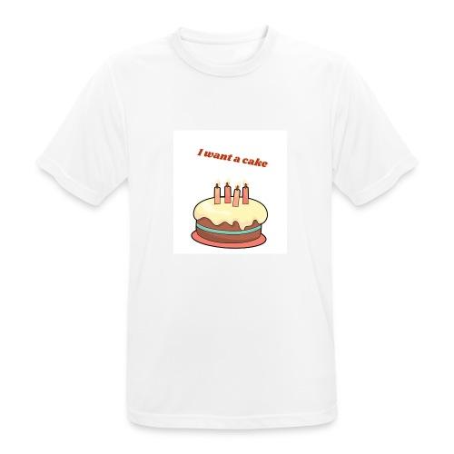 I want a cake - Andningsaktiv T-shirt herr