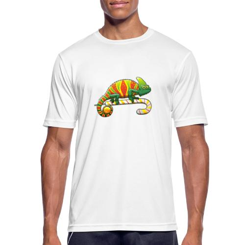 Christmas Chameleon on a Candy Cane - Men's Breathable T-Shirt