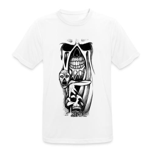 grey ink evil zombie tattoo designs - Koszulka męska oddychająca
