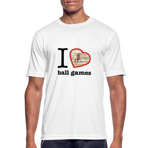 I love ball games Dog playing ball retrieving ball - Men's Breathable T-Shirt