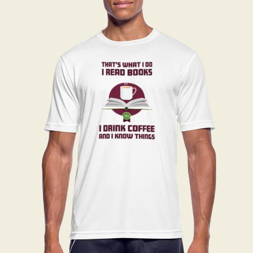 Buch und Kaffee, dunkel - Männer T-Shirt atmungsaktiv
