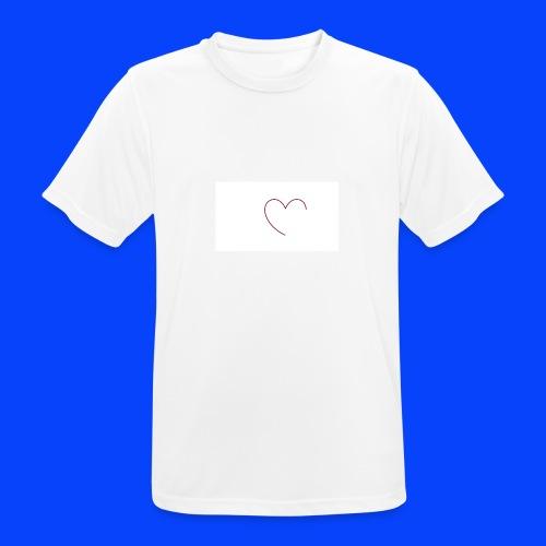 t-shirt bianca con cuore - Maglietta da uomo traspirante