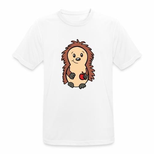 Igel mit Apfel in der Hand - Männer T-Shirt atmungsaktiv