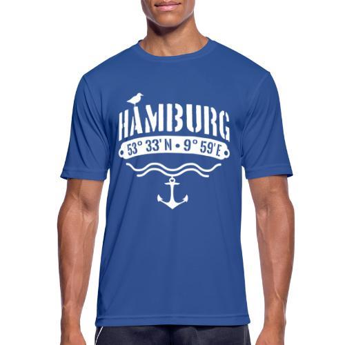 Hamburg Koordinaten Anker Möwe Längengrad - Männer T-Shirt atmungsaktiv