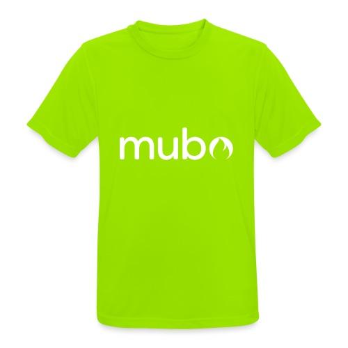 mubo logo Word White - Men's Breathable T-Shirt