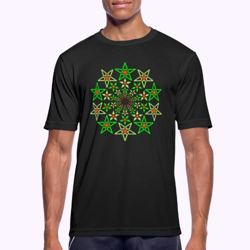 Fractal Star 3 -värinen neon - miesten tekninen t-paita