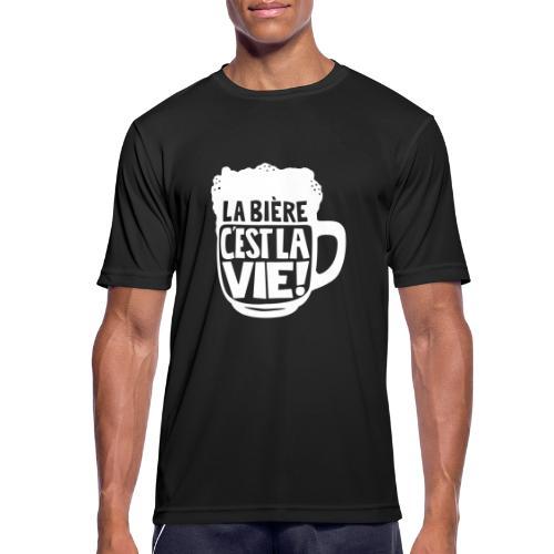 bière, la bière c'est la vie - T-shirt respirant Homme