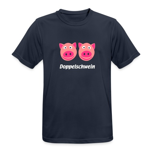 Doppelschwein Brusttasche - Männer T-Shirt atmungsaktiv