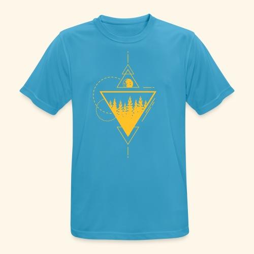 Geometrischer Wald mit Mond - Männer T-Shirt atmungsaktiv