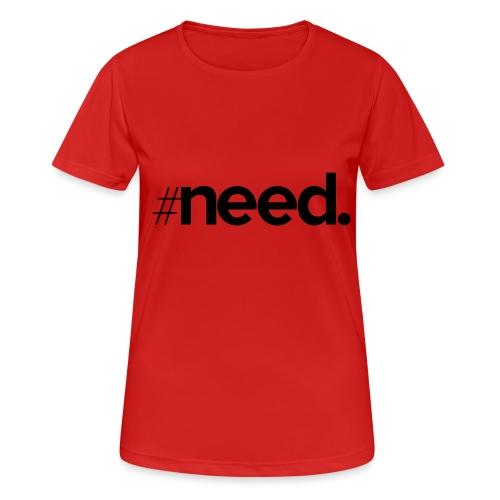 logo need official black - T-shirt respirant Femme