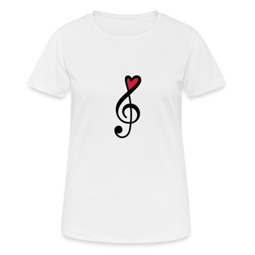 Notenschlüssel Herz rot Musik - Frauen T-Shirt atmungsaktiv