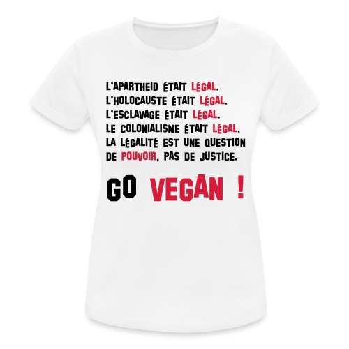 GO VEGAN - T-shirt respirant Femme