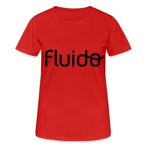 fluidologo_musta - naisten tekninen t-paita