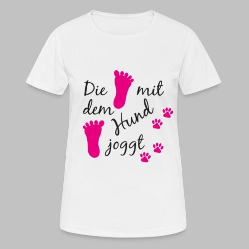 Die mit dem Hund joggt - Pink Edition - Frauen T-Shirt atmungsaktiv