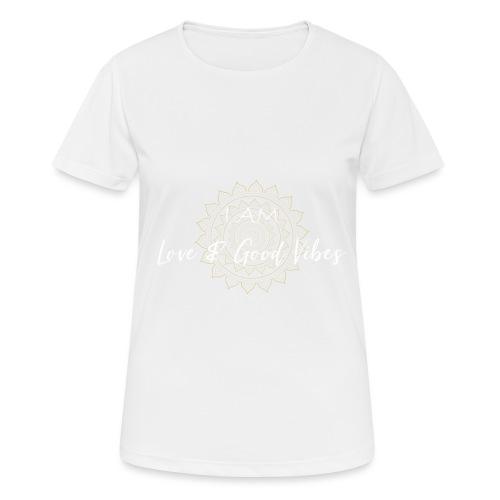 I am love and good vibes white gold - Frauen T-Shirt atmungsaktiv
