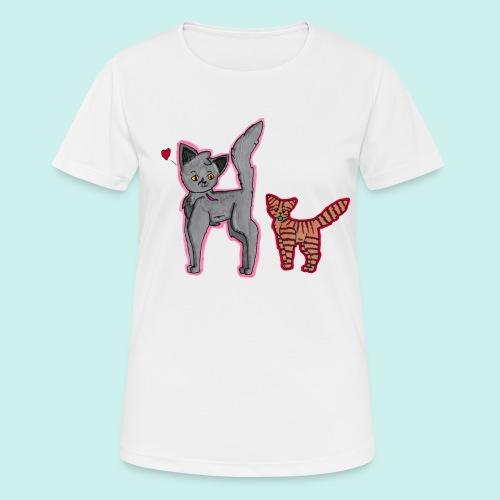 cat and kitten - naisten tekninen t-paita