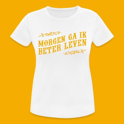 tshirt yllw 01 - Vrouwen T-shirt ademend actief