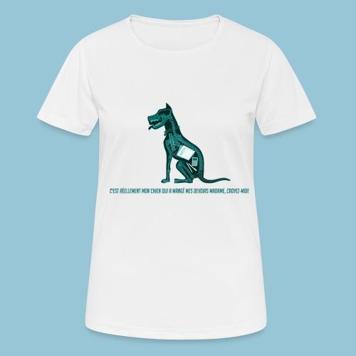 T-shirt femme imprimé Chien au Rayon-X - T-shirt respirant Femme