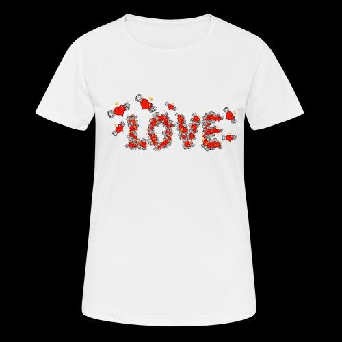 Flying Hearts LOVE - Dame T-shirt svedtransporterende