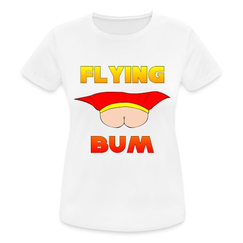 Flying Bum (face on) with text - Women's Breathable T-Shirt