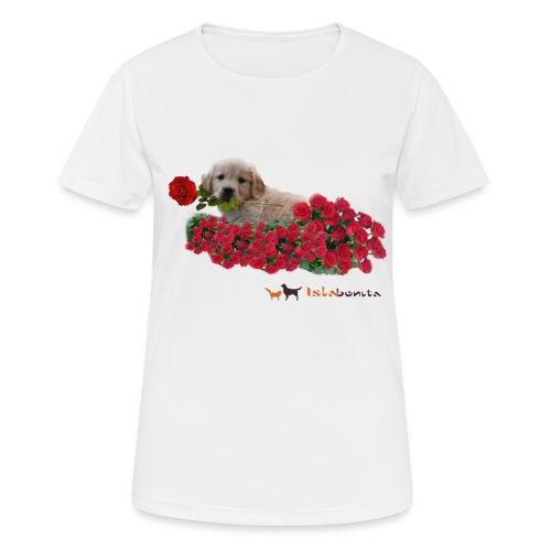 Cucciolo Golden Retriever con Rosa in Bocca - Maglietta da donna traspirante