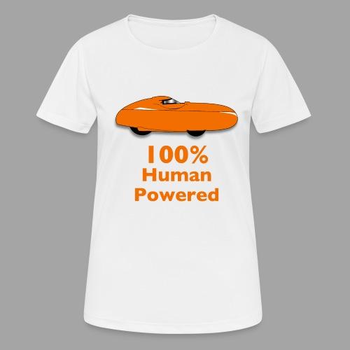 100% human powered - naisten tekninen t-paita