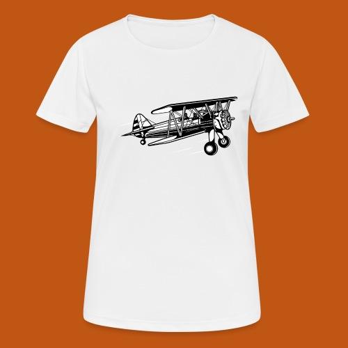 Flieger / Airplane 01_schwarz weiß - Frauen T-Shirt atmungsaktiv