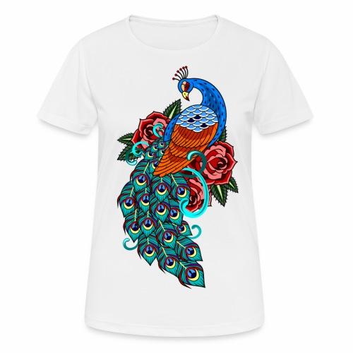 Farverig påfugl - Dame T-shirt svedtransporterende