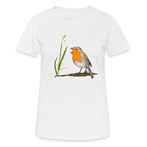 Frühling, Rotkehlchen, Schneeglöckchen - Frauen T-Shirt atmungsaktiv