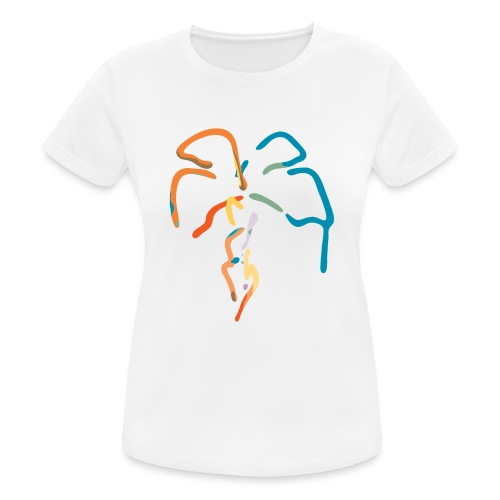 Farverig palme - Dame T-shirt svedtransporterende
