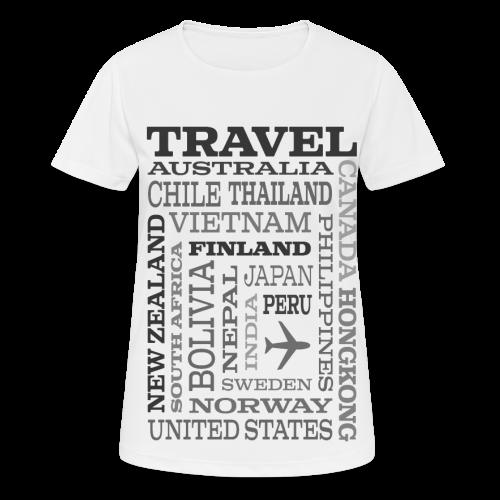 Travel Places Gray design - naisten tekninen t-paita
