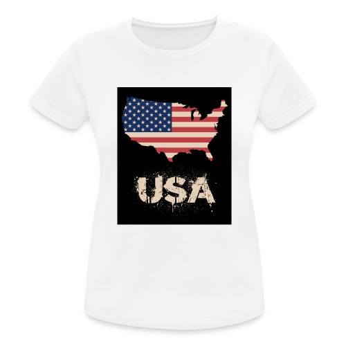 USA FLAG 4th of July With Flag - Andningsaktiv T-shirt dam