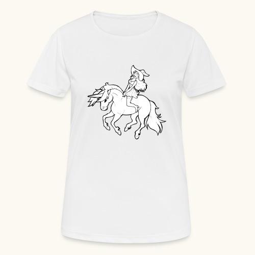 Monter une sorcière sexy sur une licorne. - T-shirt respirant Femme