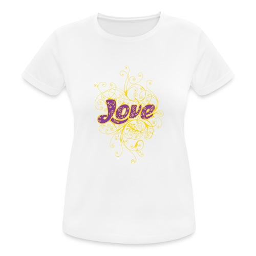 LOVE VIOLA CON DECORI - Maglietta da donna traspirante