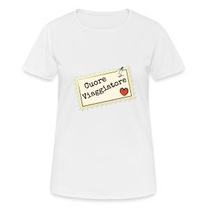 CUORE VIAGGIATORE Scritta con aeroplanino e cuore - Maglietta da donna traspirante