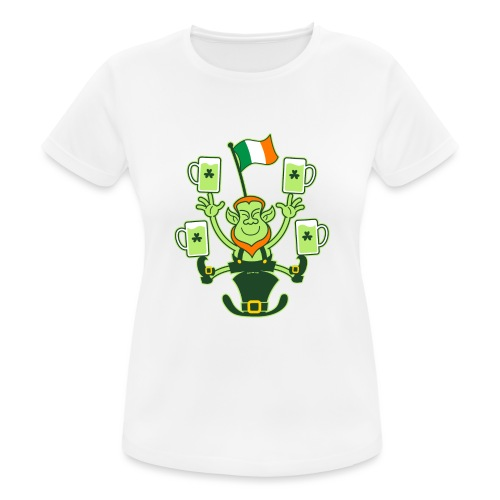 Leprechaun Juggling Beers and Irish Flag - Women's Breathable T-Shirt