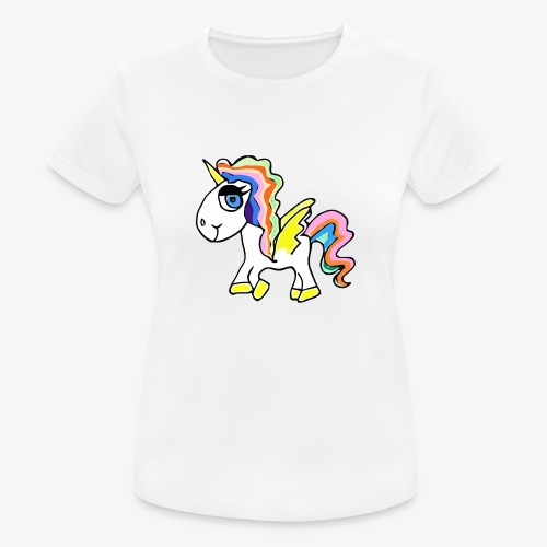 Buntes lässiges Einhorn - Frauen T-Shirt atmungsaktiv