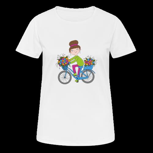 Bine - Fahrrad mit Blumenkorb - Frauen T-Shirt atmungsaktiv